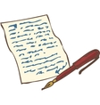 Vintage Handwritten Page with Red Ink Pen vector image
