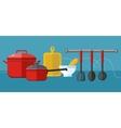 Cooking serve meals food preparation elements vector image