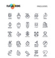 flat line icons design-fitness and sports vector image