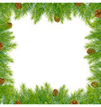 Frame With Christmas Tree And Pine Cone vector image