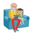 Happy senior man sitting on the sofa read with vector image