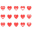 heart smiley icons set vector image