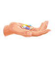 human hand with capsules vector image