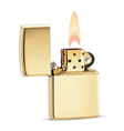 metal golden lighter with fire vector image