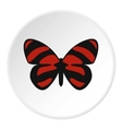 Red striped butterfly icon flat style vector image