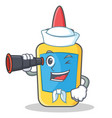 sailor with binocular glue bottle character vector image