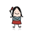Woman combing her hair cartoon for your design vector image