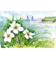 Beautiful watercolor blooming flowers over summer vector image