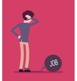 Businessman chained with a giant metall weight Job vector image