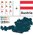 Austria map with flags vector image vector image
