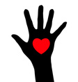 abstract hand with heart vector image