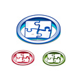 3d glossy puzzle web icon vector image