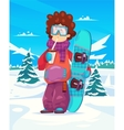 Snowboard resort holidays Snow background Flat vector image