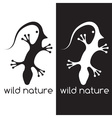 lizard and head of bird negative space concept vector image