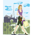 paris doodles with shopping lady vector image