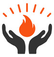 fire care hands flat icon vector image