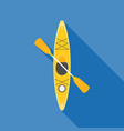 yellow kayak with paddle vector image