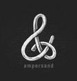 chalk ampersand hand-drawn on grunge vector image