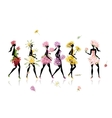 Girls dressed in floral costumes hen party for vector image