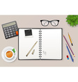 Workspace with notebook and tea vector image vector image