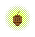 Cedar cone icon comics style vector image