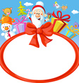christmas bow frame wit Santa Claus and gifts- vector image