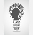 human head in gears forming a light bulb vector image