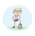Nerdy boy with weight vector image