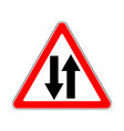 road sign warning two way traffic on white vector image