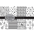 Set of eight seamless hand drawn christmas vector image