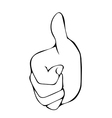 Sketch line drawing Hand with thumb up vector image