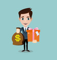 the young man hold a bag with dollars and gift vector image