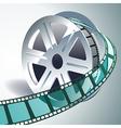 realistic 3d film reel vector image vector image