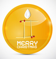 Merry Christmas Gold Medal with Paper Candle vector image