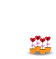 Card Heart in pots vector image