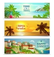 Travel agency tropical paradise vacation banners vector image
