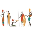 Silhouettes of native African men and women vector image
