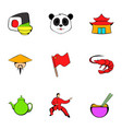 japanese culture icons set cartoon style vector image