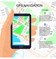 Location on smartphone in hand vector image