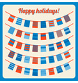 Set of bunting and garland with banners red blue vector image