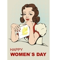 Woman reading letter Retro greeting card on March vector image