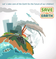 Save the Earth Big city pollution vector image