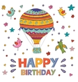 Happy birthday card with hot air balloon and birds vector image vector image