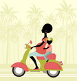 pregnant woman scootering with a child vector image