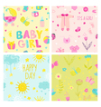 Baby Girl Seamless Background Set vector image