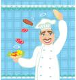 chef preparing a burger vector image