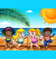 four happy kids by the sea vector image