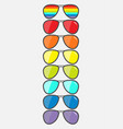 glasses set with rainbow lenses sunglasses icon vector image