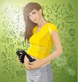 pregnant woman with headphones vector image