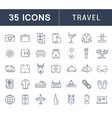 Set Flat Line Icons Travel vector image